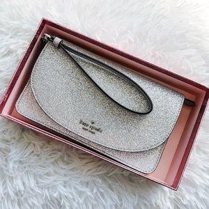 Kate Spade silver glitter wristlet Joeley clutch